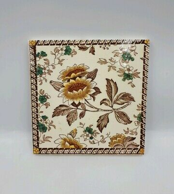 "Antique Victorian 6"" Square Floral Transfer Print Tile By Wedgwood C1870 - 90"