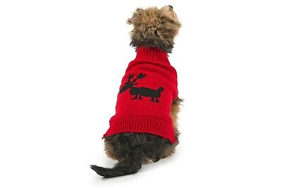 """Animate Christmas Grey Reindeer Knitted Dog Puppy Cosy Winter Jumper Size 8-18/"""""""