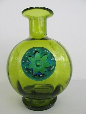 """Hand Blown Green Glass Decanter with Applied Blue Flower 7 5/8"""" Tall"""