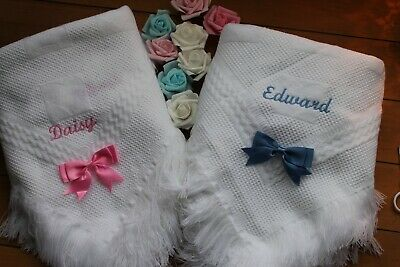 Baby blanket  shawl plain or embroidered personalised NAME AND BOW  script font