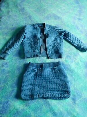 Next Blue Ribbed Sweatshirt with Zip and Skirt 4 Years Girls Outfit 2 Piece