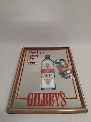 """VINTAGE GILBEY'S HERES TO MORE GIN TASTE MIRROR SIGNAGE SIGN PICTURE 17"""" x 13"""""""