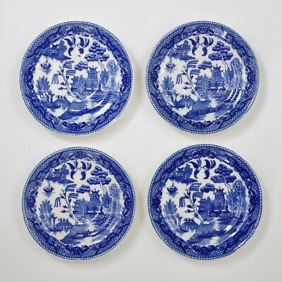 Antique Blue Willow Cup Saucers Set of Four Marked Japan Coffee Plate Ceramic