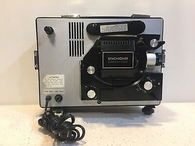 Vintage Synchronex Super Eight Sound Film Projector, Manual Copy - Tested~Works