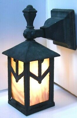 Antique Arts & Crafts Porch Wall Light Sconce Lantern Iron & Slag Glass Bungalow