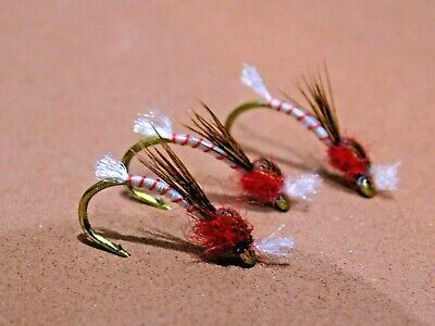 Set of 3 Fly Fishing Straight Hook Holo Red Natural Quill Buzzers size 10