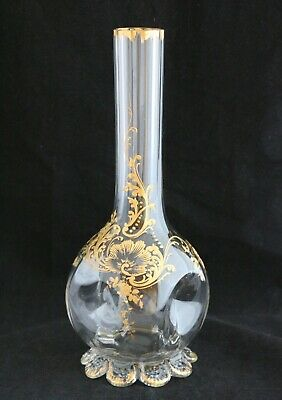 Antique French Hand Painted Gold Gilded Rococo Revival Glass Vase