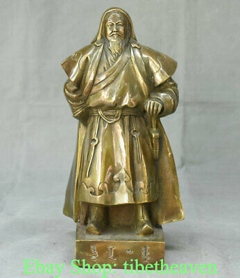 """11.4"""" Old Chinese Copper Mongolian Nationality Genghis Khan Jenghiz Khan Statue"""