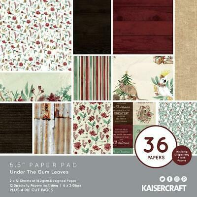 """KAISERCRAFT Scrapbooking 6.5"""" Paper Pad - UNDER THE GUM LEAVES Christmas"""
