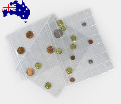 10pcs 42 Pockets Coin Holder Folder Pages Sheets For Collection Album Storage OZ