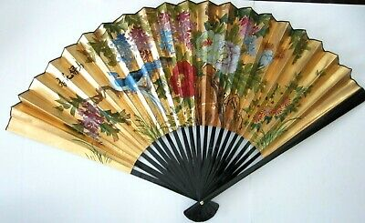 """Vtg Large Chinese Hand Painted Decorative Hanging Wall Fan Asian 55"""""""