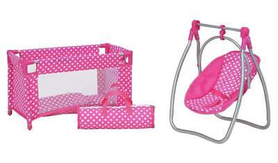 Chad Valley Babies to Love Doll's Sleep, Feed and Travel Set Dolls Cot, Swing