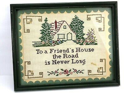 Framed Cross Stitch To A Friends House Is Never Far Vintage Green Dated 1945