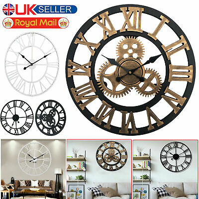 40/60Cm  Wall Clock Roman Numerals Round Open Face Metal Giant Skeleton Vintage