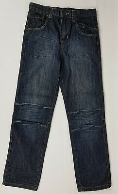 Boys Jeans Size 12 Shock Resistant Adjustable Waist Dark Blue Denim