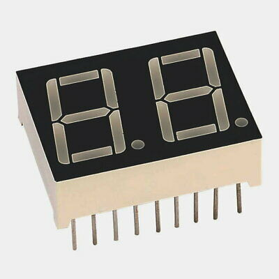 LED Display 14.2mm Dual Red 7 Segment Display Common Anode 20MCD Pack of 2