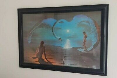 1972 WINGS OF LOVE Stephen Pearson FRAMED PICTURE Retro Art