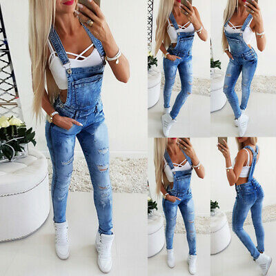 Womens Denim Dungarees Jeans Ladies Ripped Overalls Jumpsuit Trousers Bib Pants