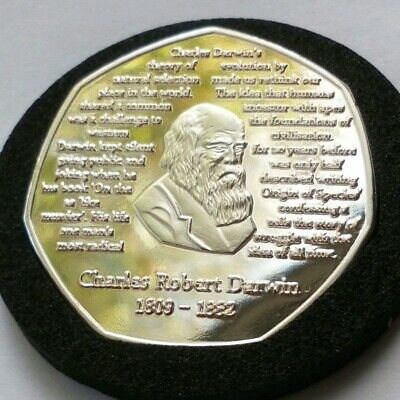 Charles Darwin 50p Rare Coin Silver Plated Collectable Limited Ed Only 200 + COA