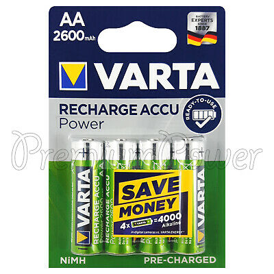4 x Varta AA 2600mAh batteries Rechargeable Ni-MH 1.2V HR6 Stilo Accu Power High