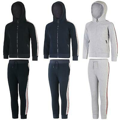 Kids Casual Tracksuit Girls Fleece Boys Stripe Detailing Zip Fastening Set 3-14Y
