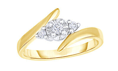 1/8 Ct Round Cut Real Diamond 3-Stone Bypass Engagement Ring In 10K Yellow Gold