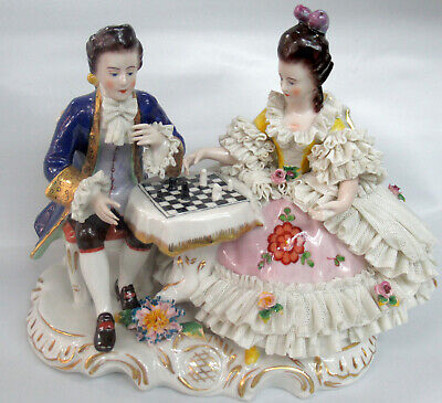 Antique Dresden German Chess Playing Man And Woman Porcelain Figurine
