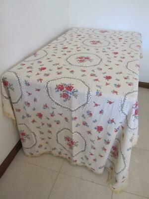 Vintage Large Banquet TABLECLOTH Divine Roses Printed Cross Stitch