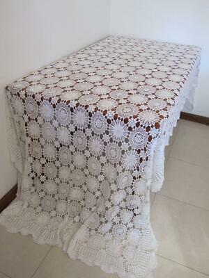 Beautiful Vintage Large Banquet CROCHET TABLECLOTH sv