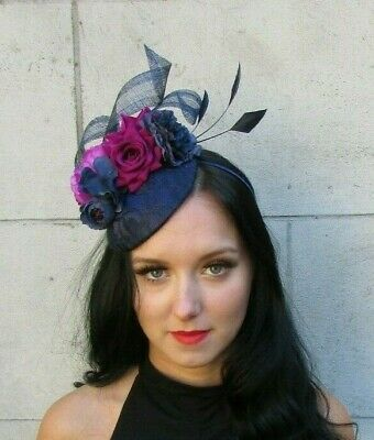 Navy Blue Fuchsia Pink Flower Feather Hat Fascinator Races Wedding Hair 7593