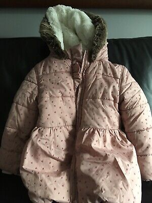 Marks & Spencer Girls Pink Hooded Coat 3-4 years with mittens GOOD COND