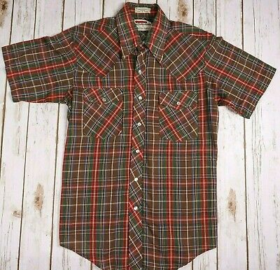 Vintage Western Rodeo Shirt Plaid Mens L Pearl Snap Buttons Michael Barry SS 80s