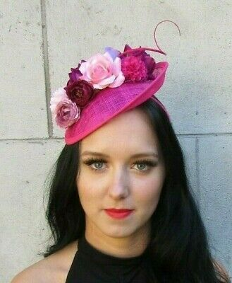 Fuchsia Hot Pink Burgundy Lilac Rose Feather Flower Disc Hat Fascinator 7611