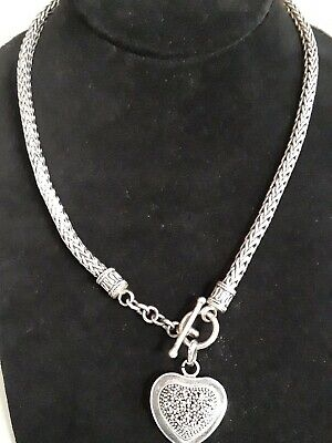 Sterling Silver Byzantine Wheat Chain Necklace Starburst Heart Pendant 63 grams