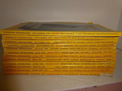 "1978 National Geographic  Lot of 12 Complete Year, ""Tigris"", Chinese Tomb, Syria"