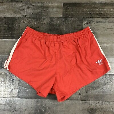 Vintage 70s Adidas Mens Active Running Track Lined Shorts Size Large Red