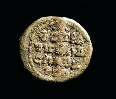 ** AMAZING  ** Ancient Byzantine LEAD SEAL  ** 4 LINES  INSCRIPTION **