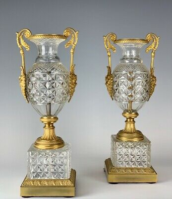 A Pair Of Dore Bronze And Baccarat Style Crystal Vases