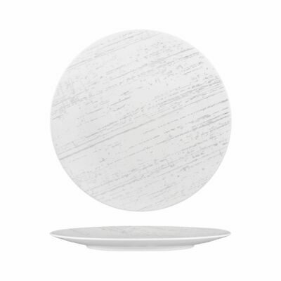 4x Plate 280mm Luzerne Drizzle White with Grey Main Commercial Cafe Crockery