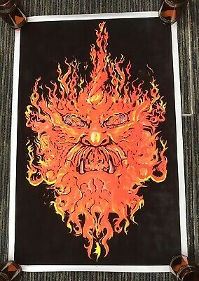 "Vtg 90s Fire Demon Fireball Evil Flame 1998 Flocked Blacklight 35""x23"" Poster"