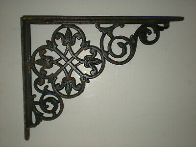 "1 Antique Ornate Victorian Cast Iron Shelf Bracket 8"" x 6 1/2"""