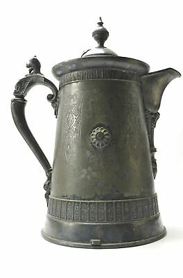 Antique Simpson Hall Miller Triple Silverplate Ornate Coffee Pot Pitcher Griffin