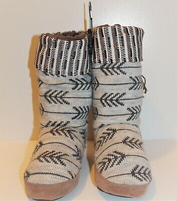 Muk Luks Womens Bootie slippers Knit Upper Faux Fur Gray Lining Size Small 5-6