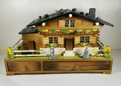 Swiss Chalet House Style Wind Up Musical Jewelry Box with 4 Compartments JAPAN
