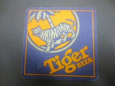 """1 only TIGER  Brewery """"90mm square"""",,SINGAPORE , Beer COASTER"""