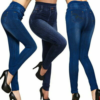 Women Casual High Waist Stretch Pencil Pants Skinny Jeggings Slim Jeans Trousers