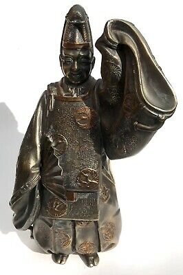 Lovely Antique Japanese / Chinese Silvered Bronze Man With A Fan