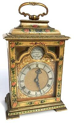 Antique Charles Frodsham Floral Painted Miniature Mantel / Bracket Clock