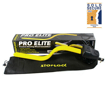 Stoplock Pro Elite Anti Theft Steering Wheel Lock (Yellow/Black)