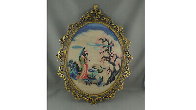 Beautiful Ornate Frame With Cross Stitch Geisha Girl Under Apple Blossom Tree